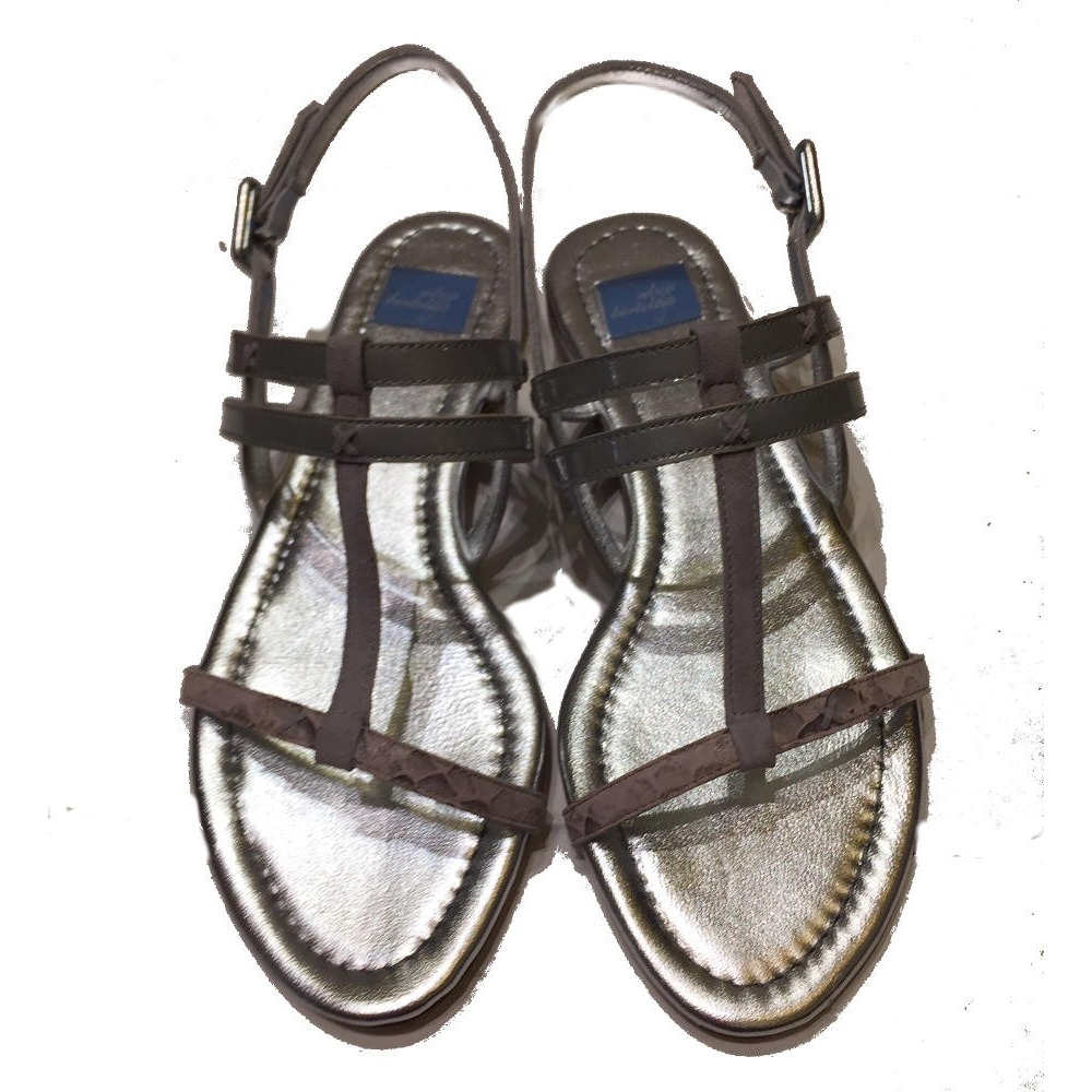 077b7c46fa62 Elettra flat sandal silver leather with pink snake print - Le Solferine